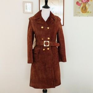 1960s cinnamon brown suede double breasted coat